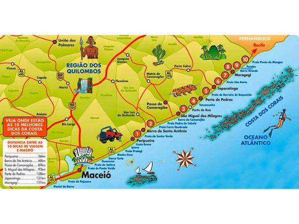 Mapa Costa dos Corais Alagoas