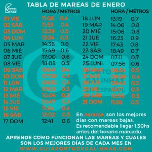 TABLA DE MAREAS ENERO PORTO DE GALINHAS